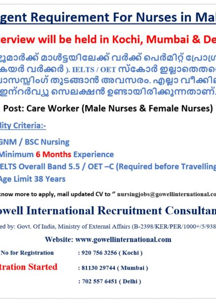 URGENTLY REQUIREMENT FOR NURSES