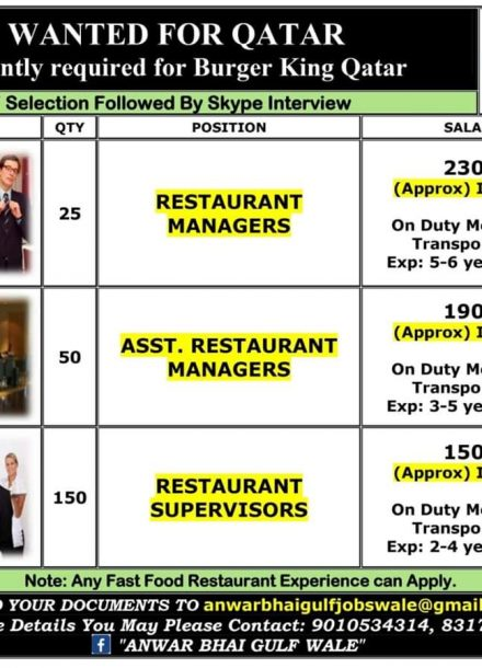 URGENTLY REQUIRED FOR BURGER KING QATAR
