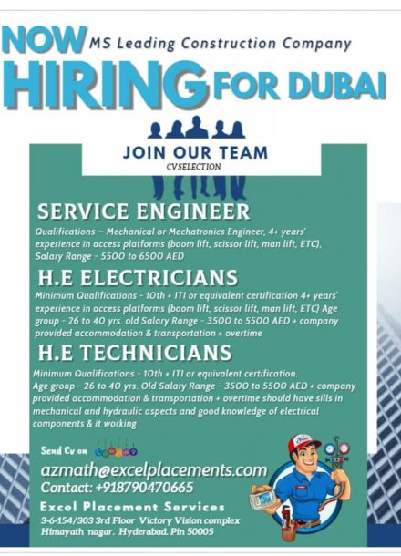 HIRING FOR MS LEADING CONSTRUCTION COMPANY