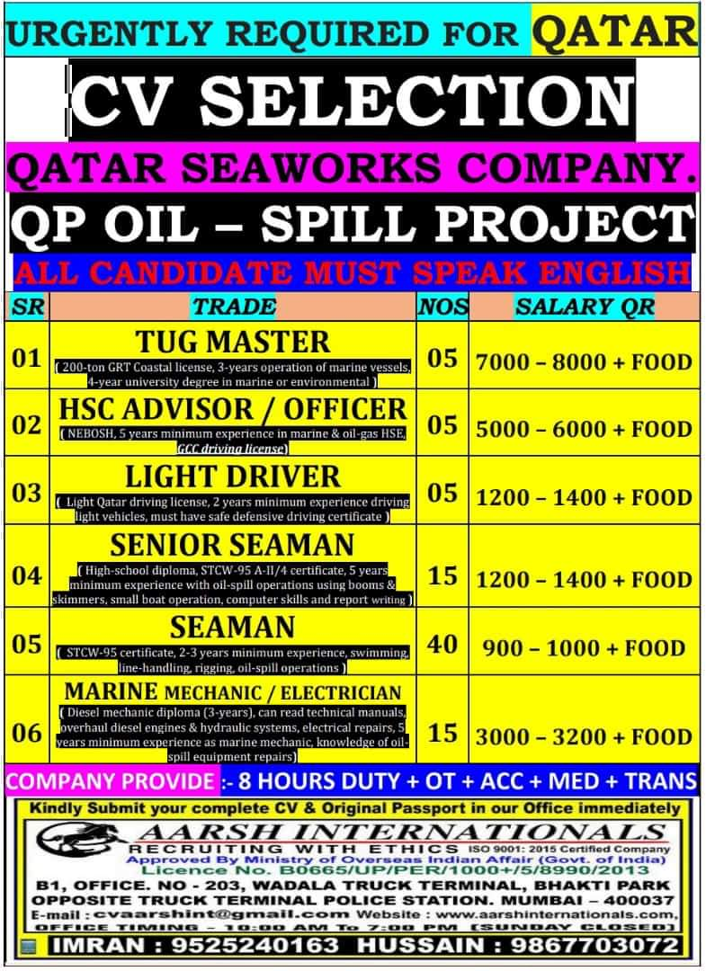 URGENT REQUIREMENT FOR QATAR SEAWORKS COMPANY