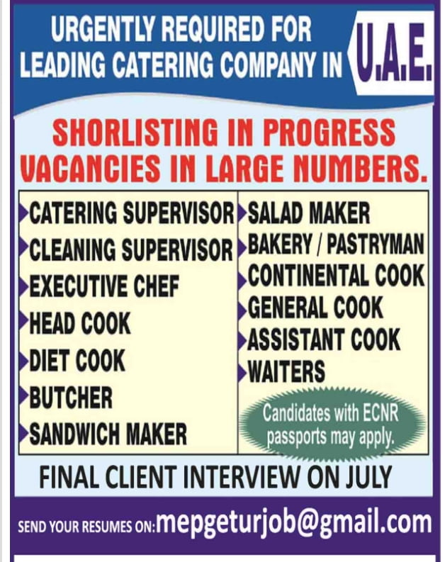URGENT REQUIREMENT FOR LEADING CATERING COMPANY