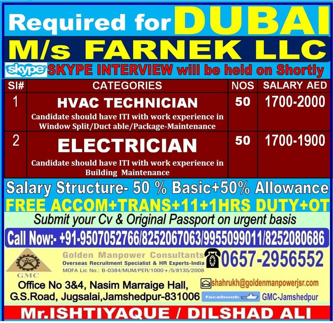 REQUIREMENT FOR DUBAI FARNEK LLC