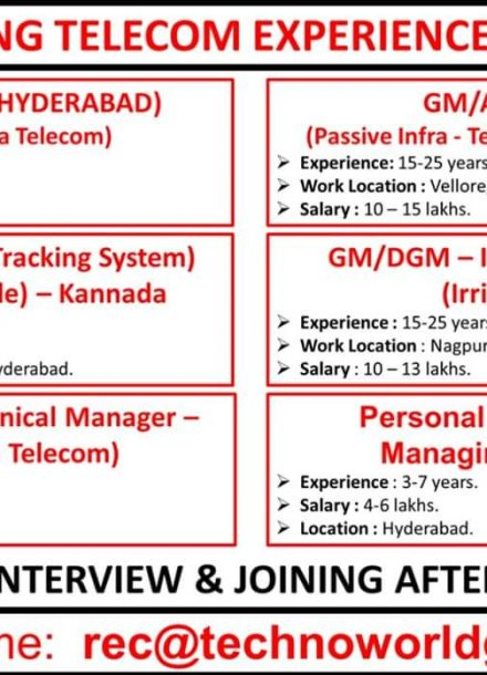 HIRING FOR TELECOM EXPERIENCE CANDIDATES