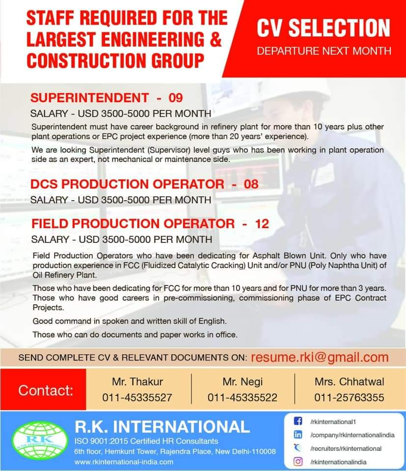 REQUIREMENT FOR THE STAFF IN THE LARGEST ENGINEERING AND CONSTRUCTION GROUP