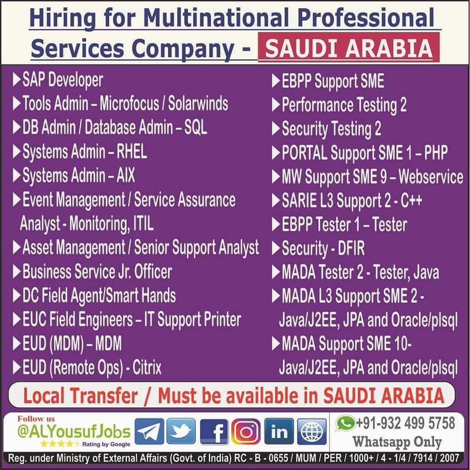 HIRING FOR MULTINATIONAL PROFESSIONAL SERVICES COMPANY