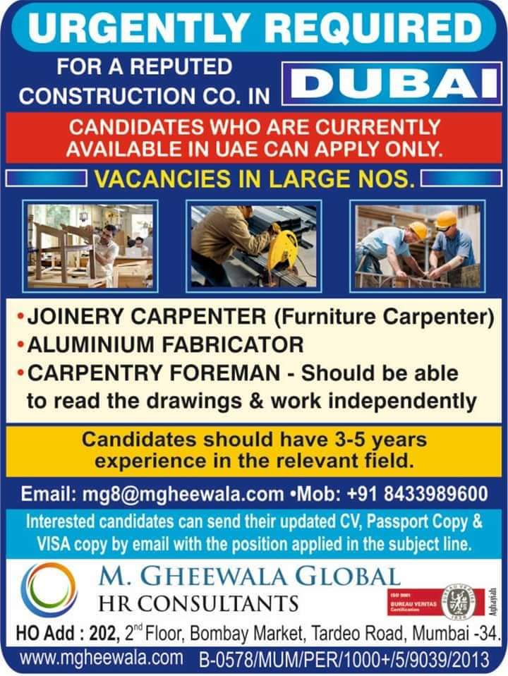 URGENTLY REQUIRED FOR A REPUTED CONSTRUCTION COMPANY