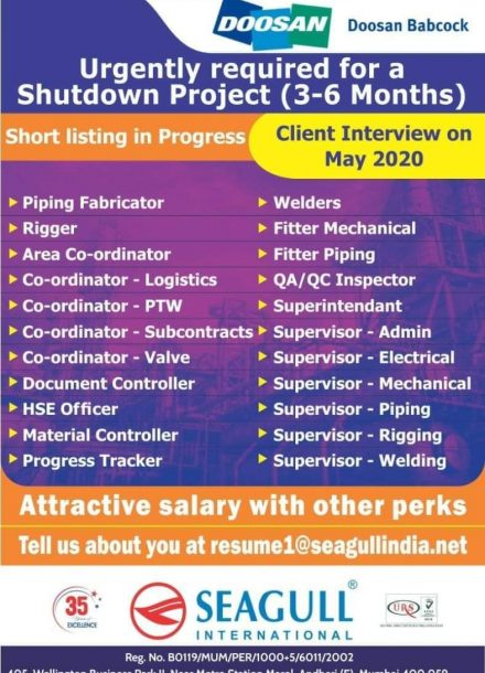 URGENTLY REQUIRED FOR A SHUTDOWN PROJECT