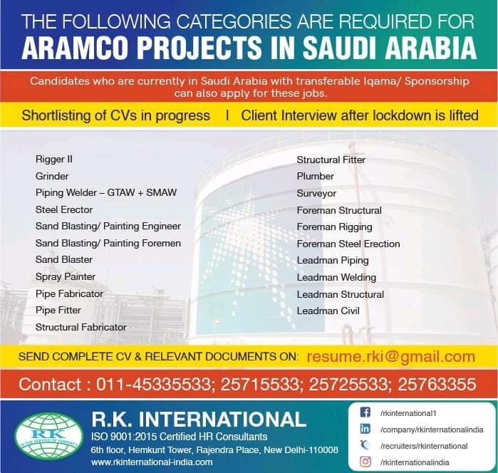 REQUIREMENT FOR ARAMCO PROJECTS IN SAUDI ARABIA