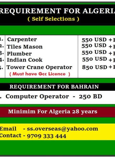 REQUIREMENT FOR ALGERIA