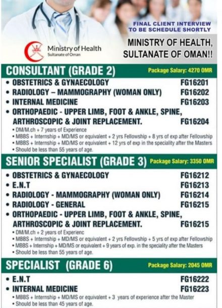 URGENTLY REQUIREMENT FOR MINISTRY OF HEALTH