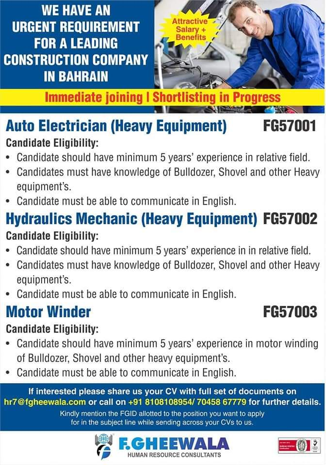 URGENT REQUIREMENT FOR A CONSTRUCTION COMPANY-BAHRAIN