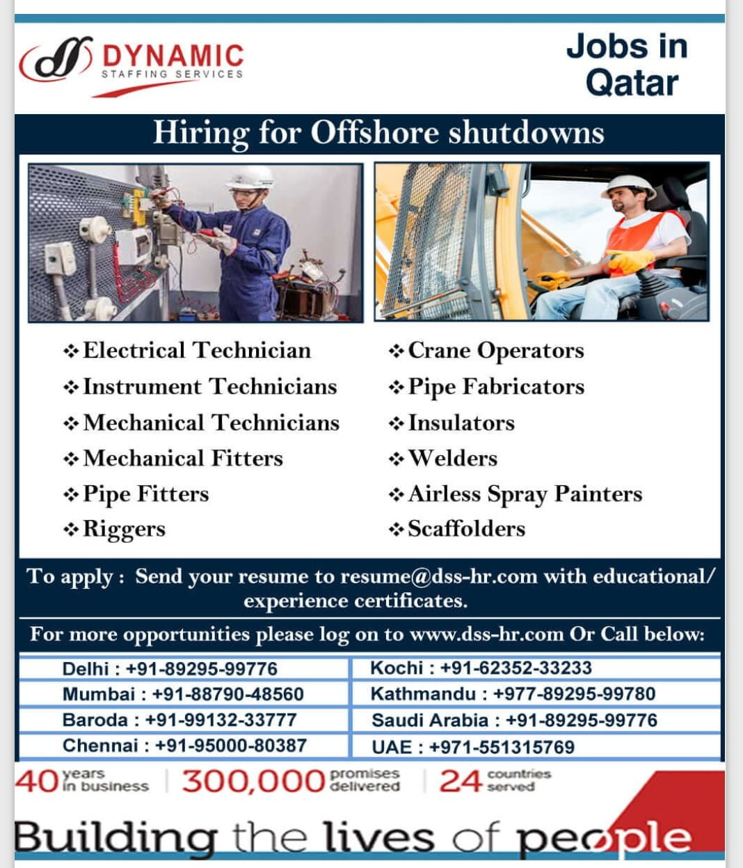 HIRING FOR OFFSHORE SHUTDOWNS-QATAR