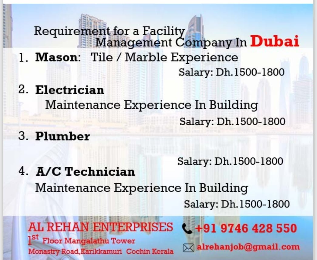 REQUIRED FOR FACILITY MANAGEMENT CO-DUBAI