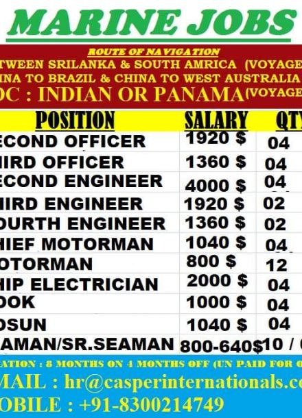 REQUIREMENT FOR MARINE JOBS