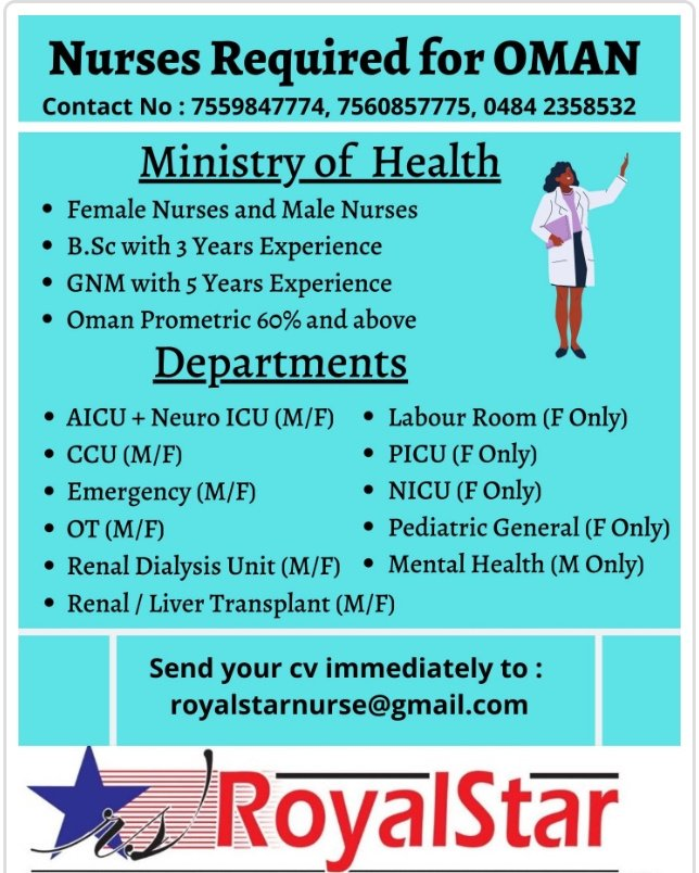 REQUIREMENT FOR NURSES