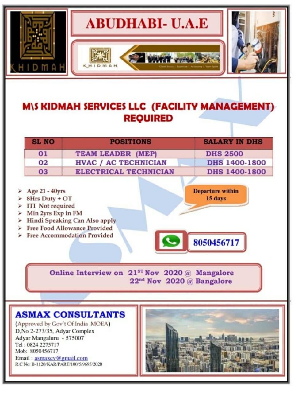 M/S KIDMAH SERVICES(FACILITY MANAGEMENT)-ABUDHABI