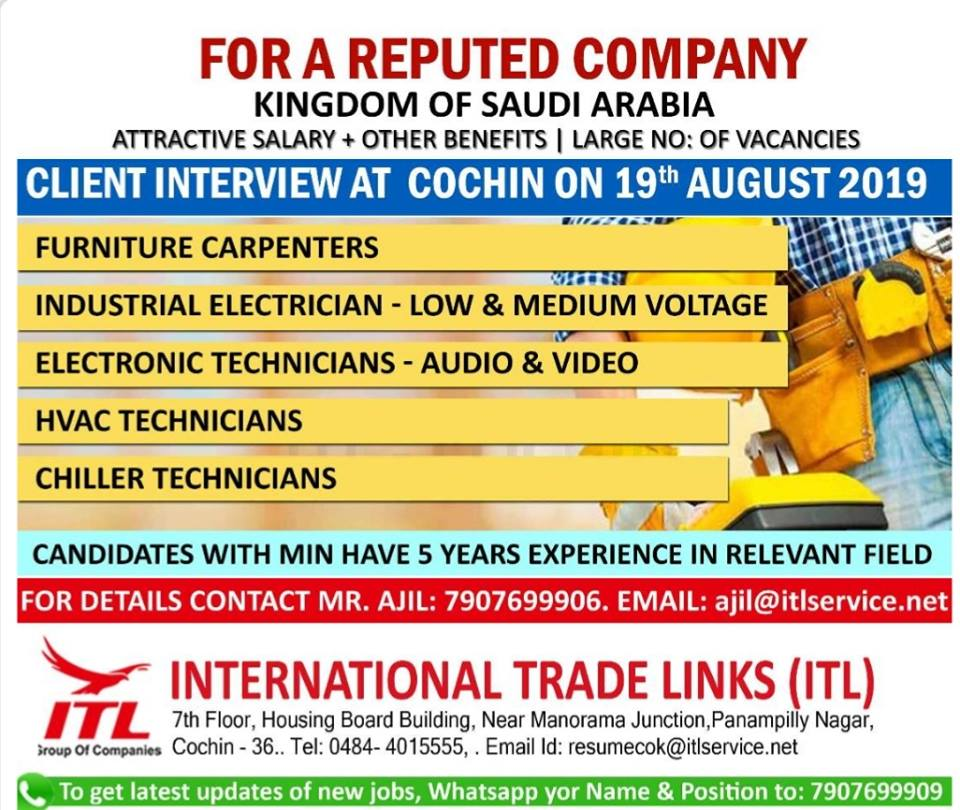 Client Interview In Mumbai For Gulf 2019 August 12, 2019 JOBS AT
