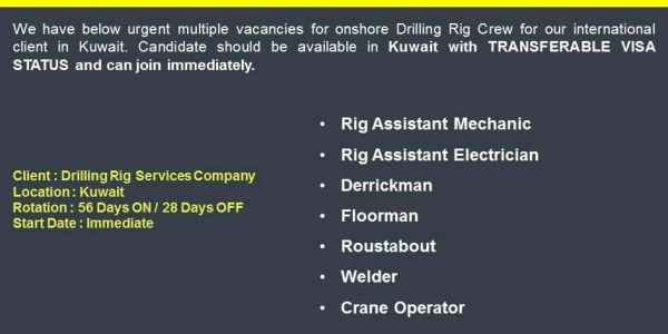 REQUIREMENT FOR DRILLING RIG CREW
