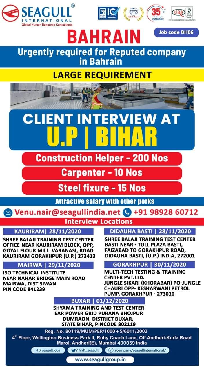 URGENTLY REQUIRED FOR REPUTED COMPANY-BAHRAIN