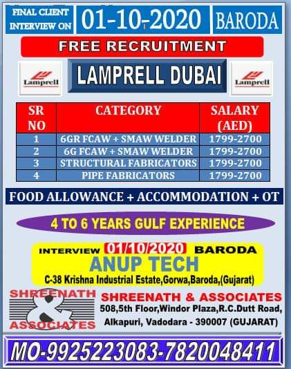 URGENTLY REQUIRED FOR LAMPRELL DUBAI
