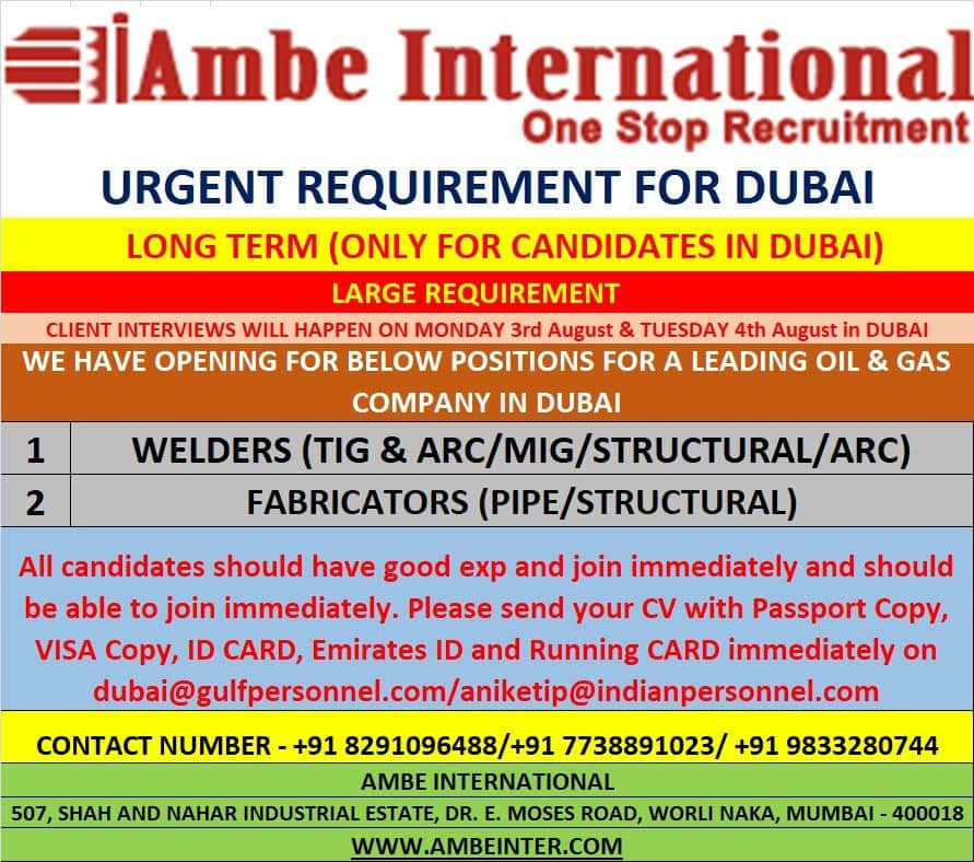 URGENT REQUIREMENT FOR DUBAI