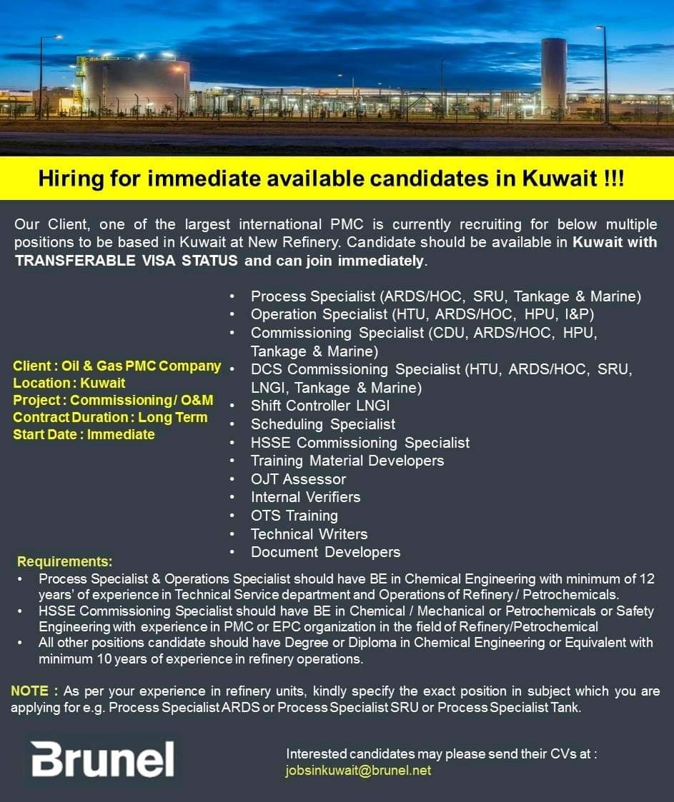 HIRING FOR IMMEDIATE AVAILABLE CANDIDATES IN KUWAIT