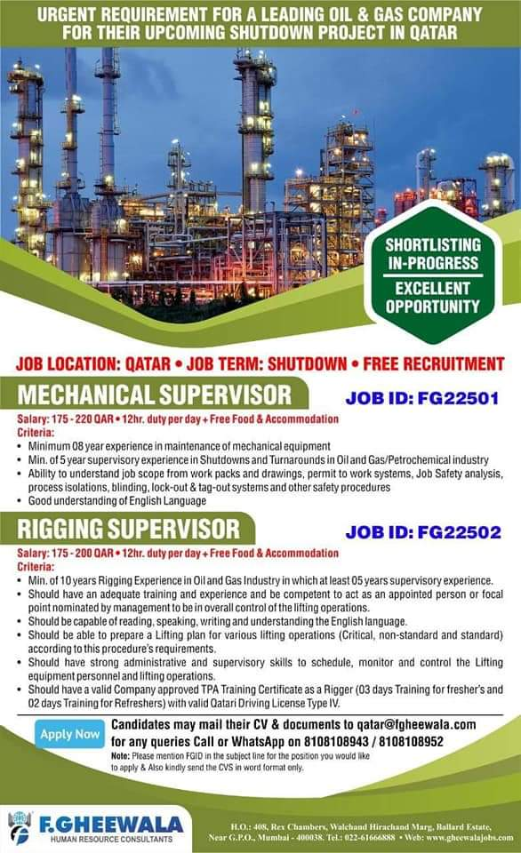 URGENT REQUIREMENT FOR A LEADING OIL & GAS COMPANY