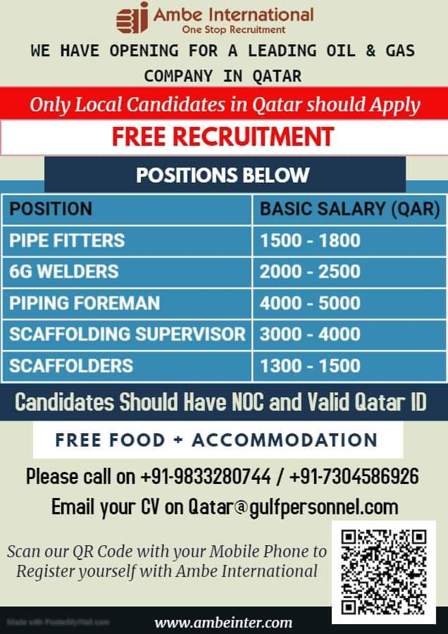 OPENINGS FOR A LEADING OIL & GAS COMPANY