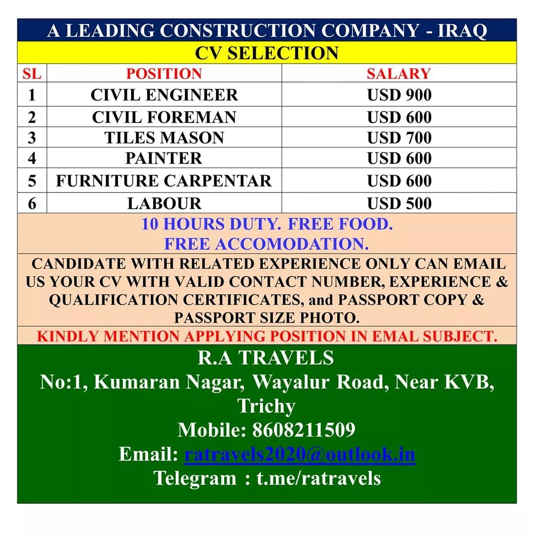 URGENTLY REQUIRED FOR A LEADING CONSTRUCTION COMPANY