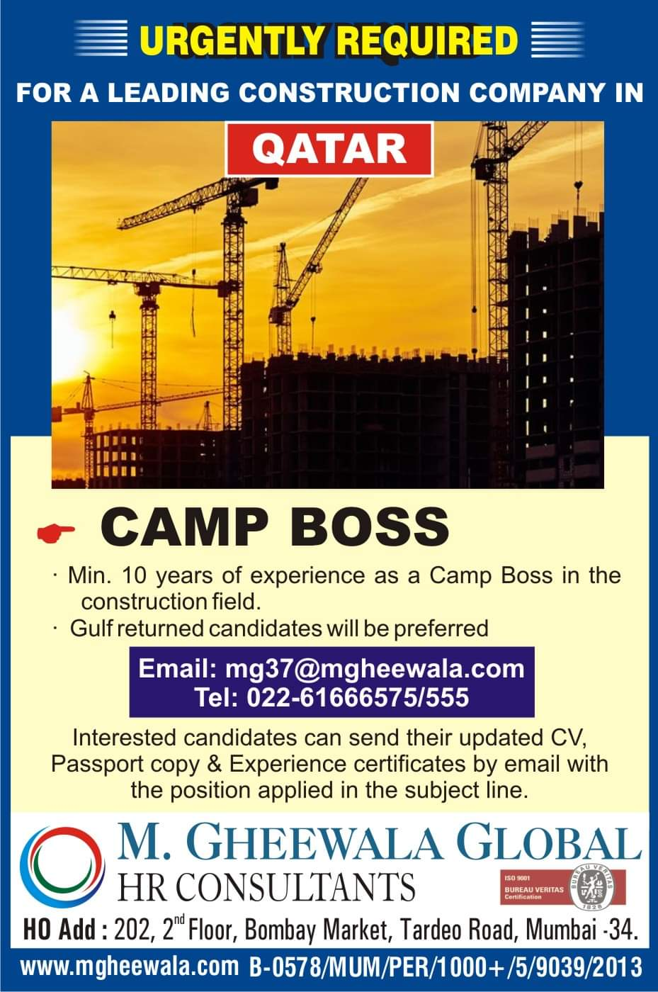 URGENTLY REQUIRED FOR A CONSTRUCTION COMPANY-QATAR