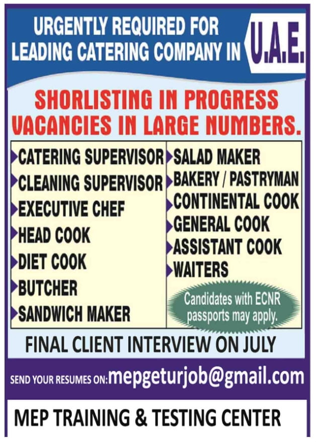 URGENTLY REQUIRED FOR LEADING CATERING COMPANY