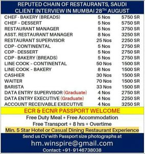 Leading Restaurant Jobs In Gulf October 25 2019 Gulf Jobs