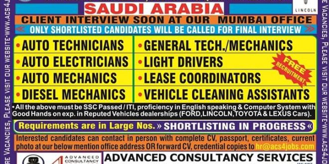 Free Recruitment Jobs in Gulf Countries September 7, 2019