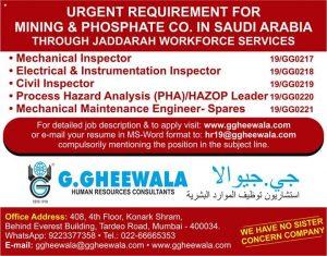G GHEEWALA OVERSEAS JOBS OPENINGS September 10, 2019 JOBS AT