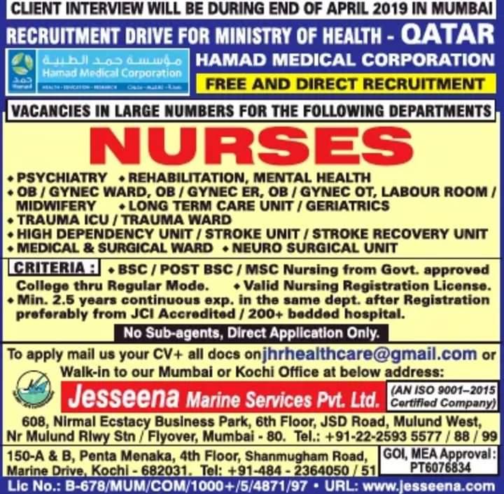 Hamad Medical Corporation Jobs September 11, 2019 JOBS AT
