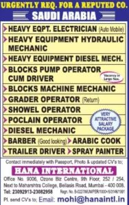 Saudi Arabia Jobs Interview In india August 10, 2019 JOBS AT GULF