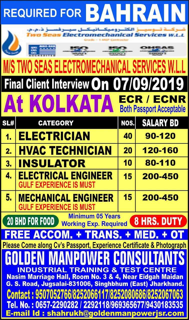 Gulf Job Interview in kolkata, walk in interview in kolkata