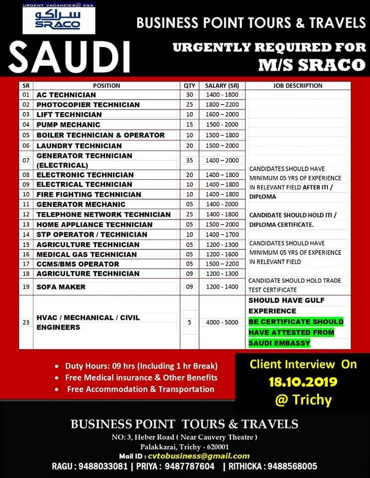 BUSINESS POINT TOURS AND TRAVELS  URGENTLY REQUIRED FOR   M/S  SRACO