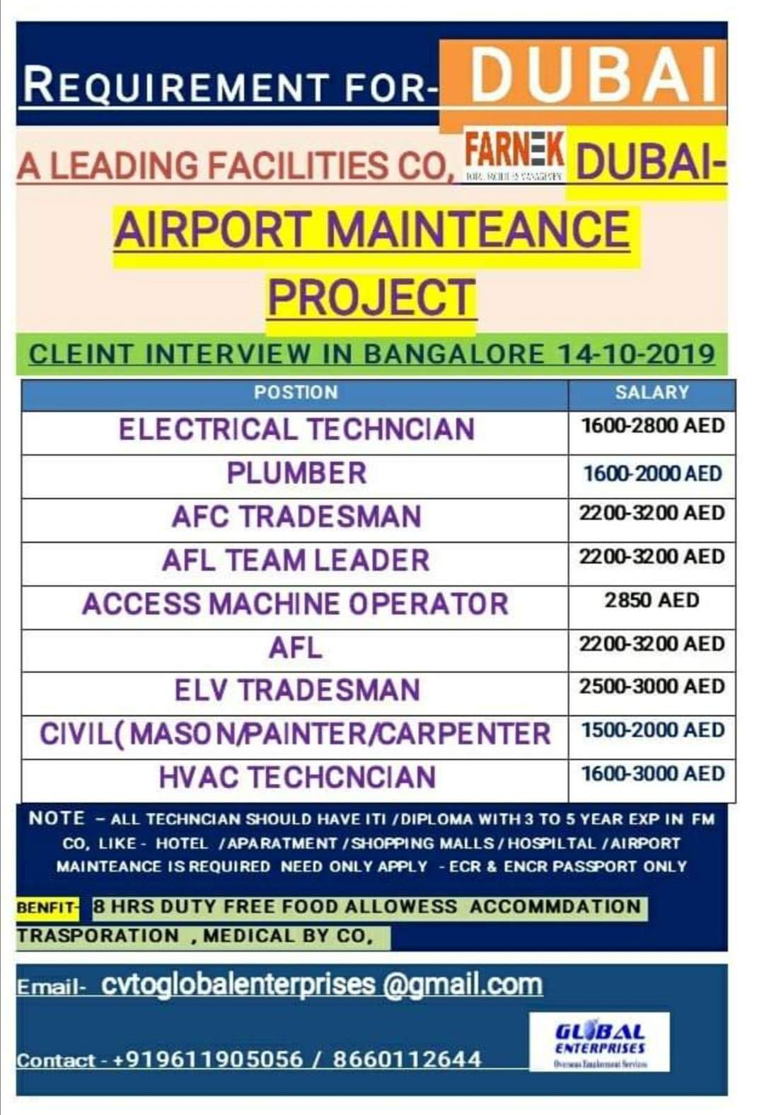 JOBS IN AIRPORT MAINTANENCE PROJECT