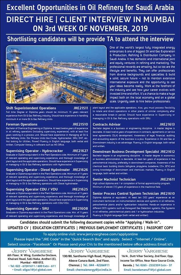 EXCELLENT OPPORTUNITIES IN OIL REFINARY FOR SAUDI ARABIA