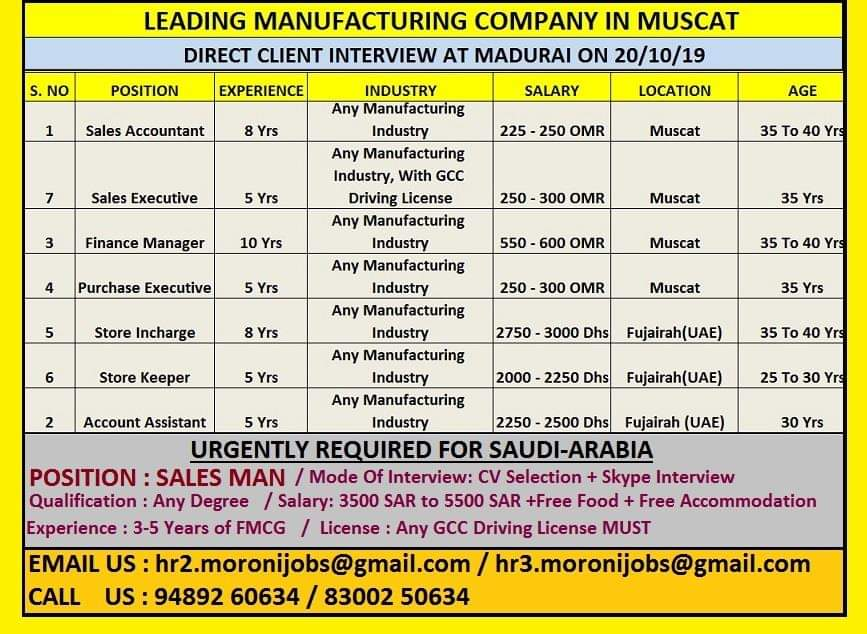 JOBS IN MANUFACTURING COMPANY IN MUSCAT