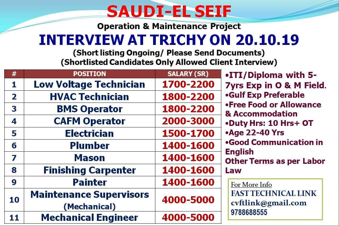 JOB VACANCIES IN SAUDI- EL SEIF OPERATION AND MAINTENANCE PROJECT