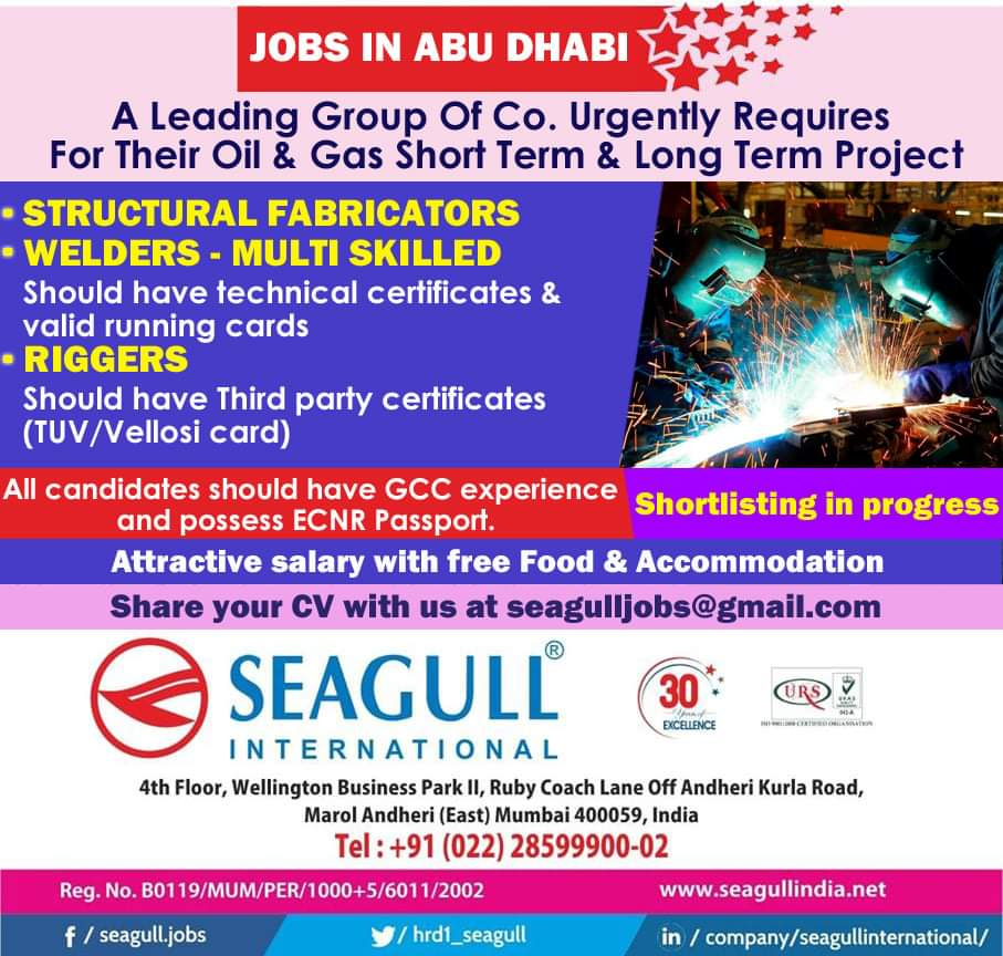 A LEADING GROUP OF COMPANY URGENTLY REQUIRES FOR THEIR OIL AND GAS SHORT TERM AND LONG TERM PROJECT
