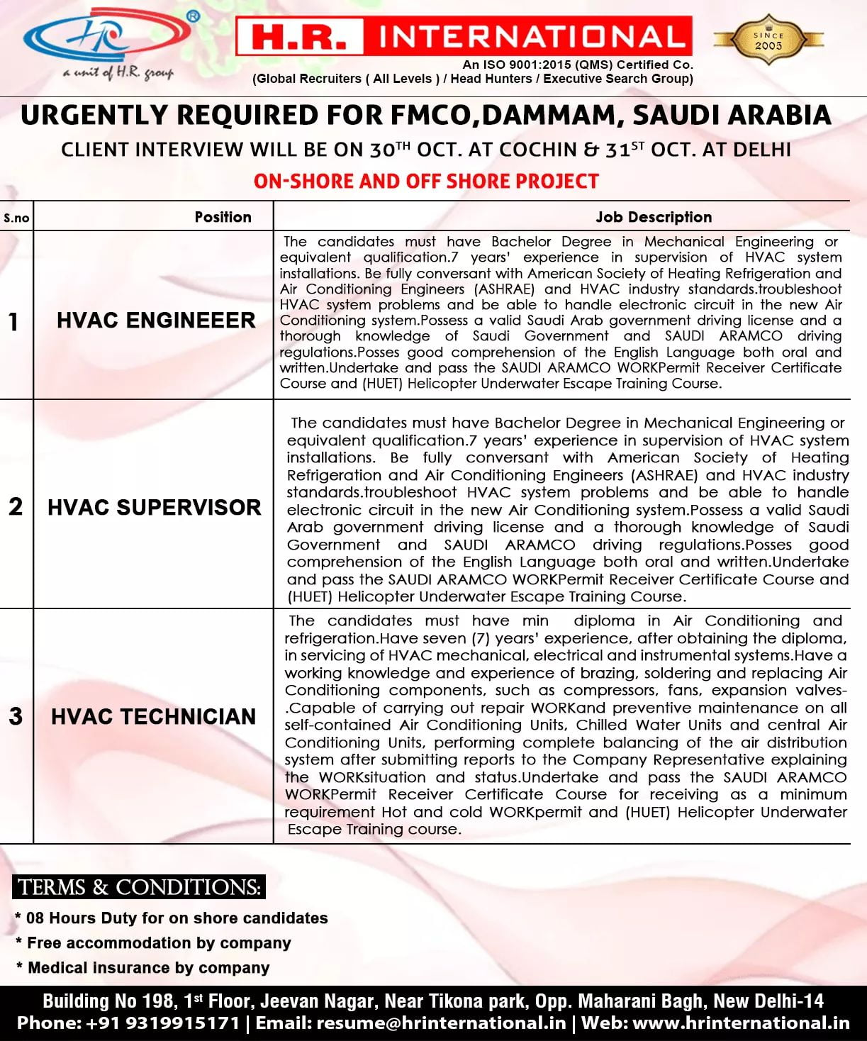 URGENTLY REQUIRED FOR FMCO,DAMMAM,SAUDI ARABIA