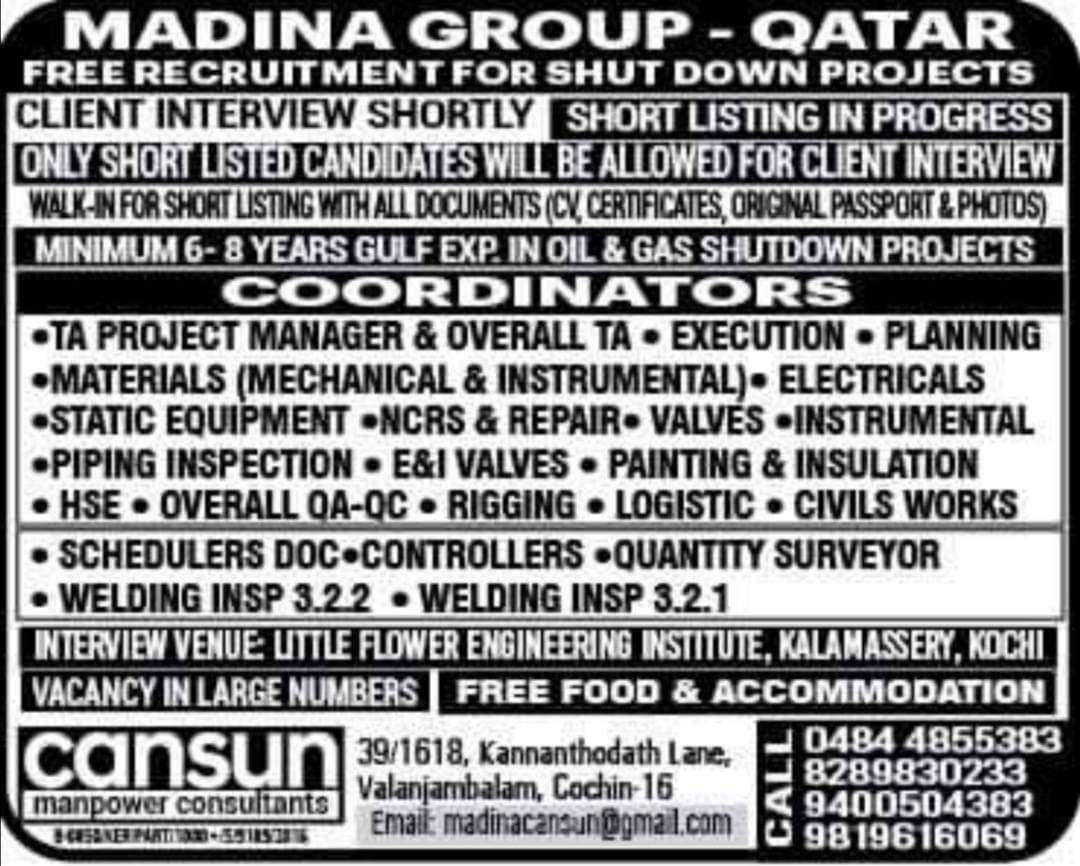 JOB VACANCIES IN MADINA GROUP QATAR