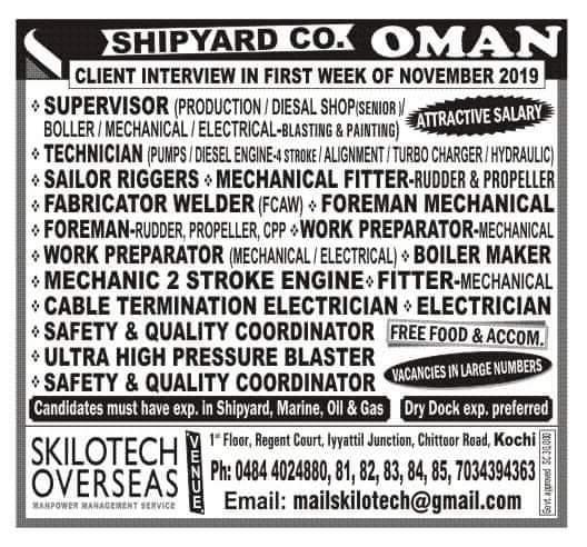 JOB VACANCIES IN OMAN SHIPYARD CO.