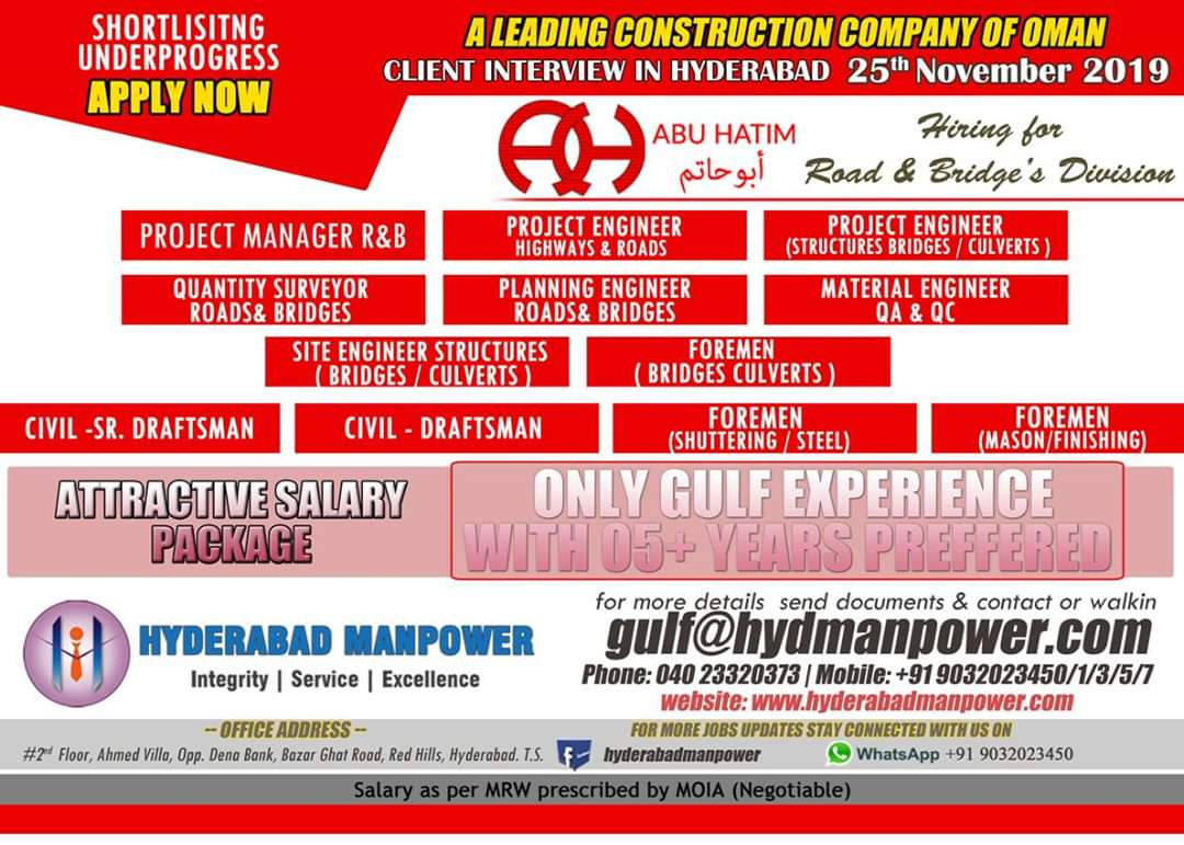 JOB VACANCIES IN A LEADING CONSTRUCTION COMPY OF OMAN
