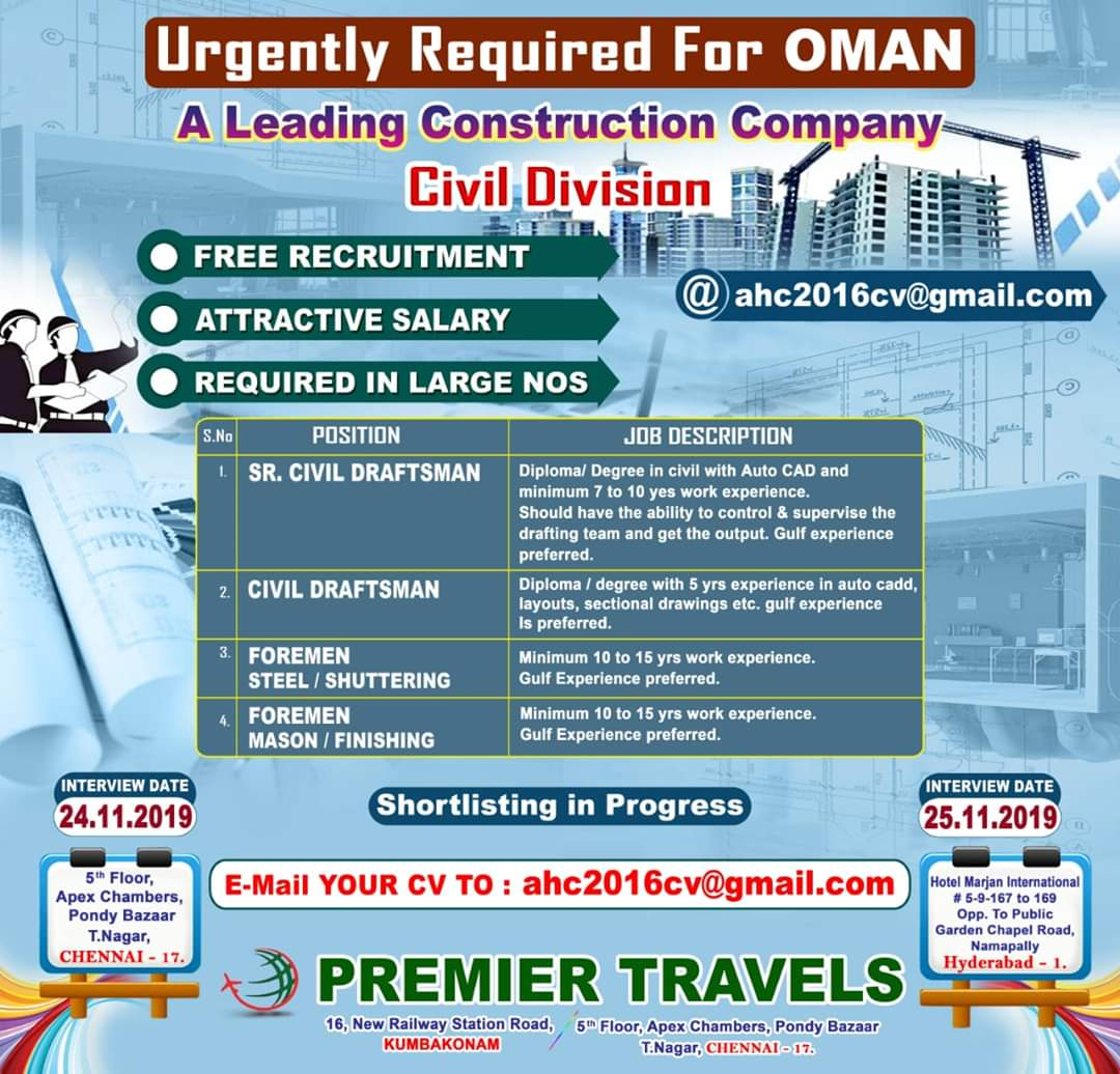 JOB OPENINGS IN A LEADING CONSTRUCTION COMPANY OMAN