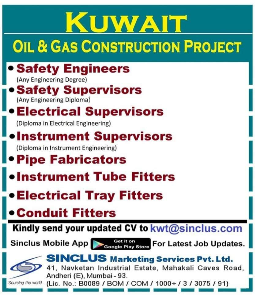 JOB OPENINGS IN OIL AND GAS  CONSTRUCTION PROJECT IN KUWAIT