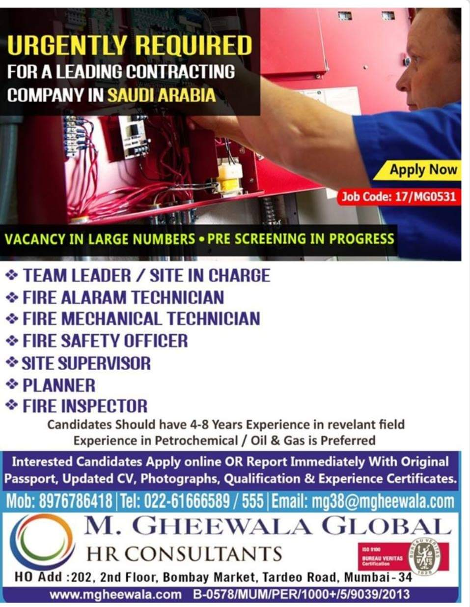 JOB OPPORTUNITIES IN A LEADING CONTRACTING COMPANY IN SAUDI ARABIA